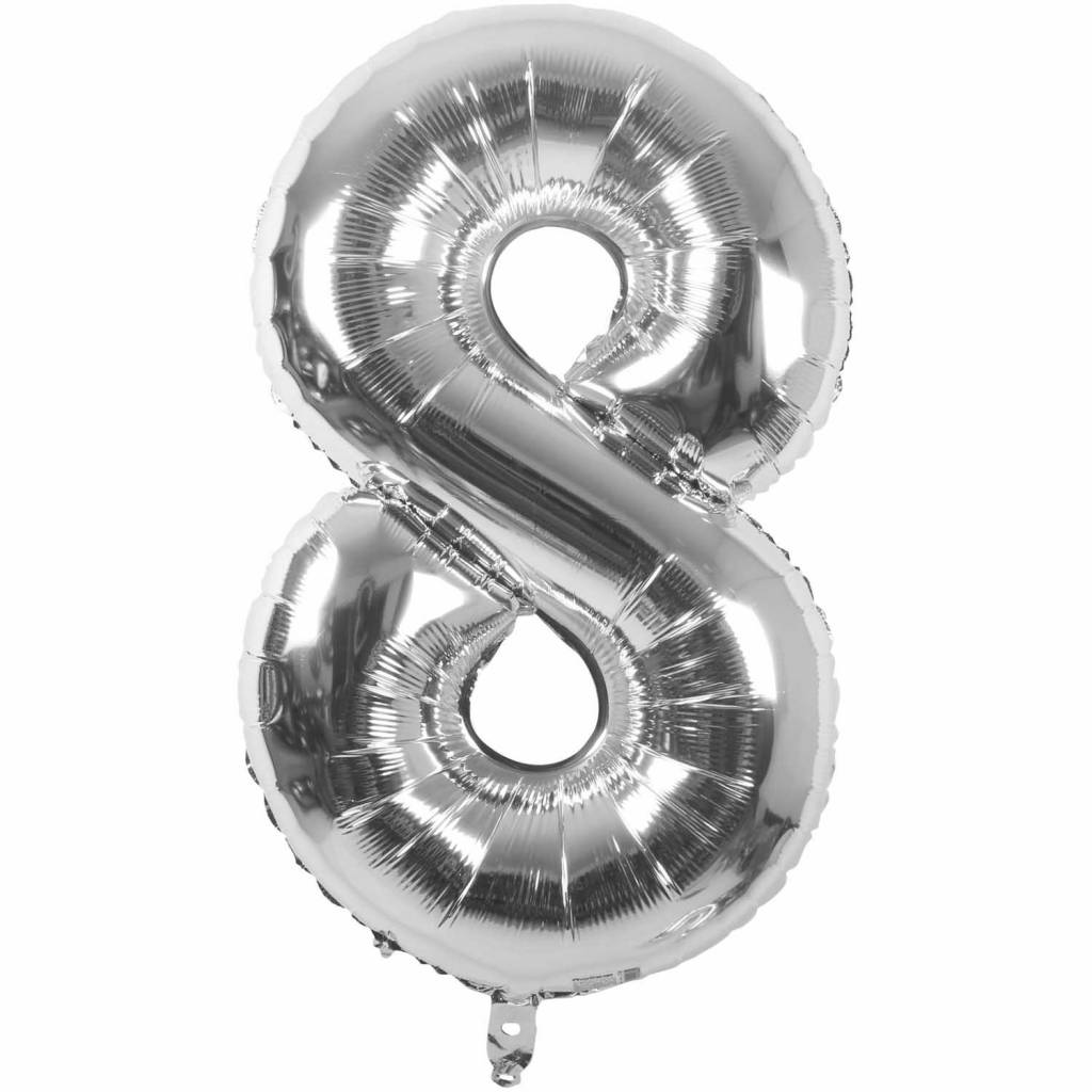 RICO Foil numberballoon small silver 8