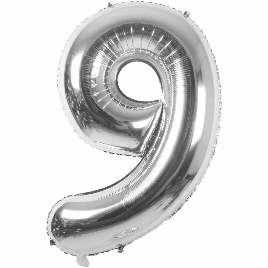 RICO Foil numberballoon small silver 9