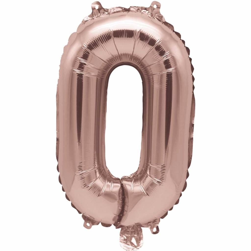 RICO Foil numberballoon small rose gold 0