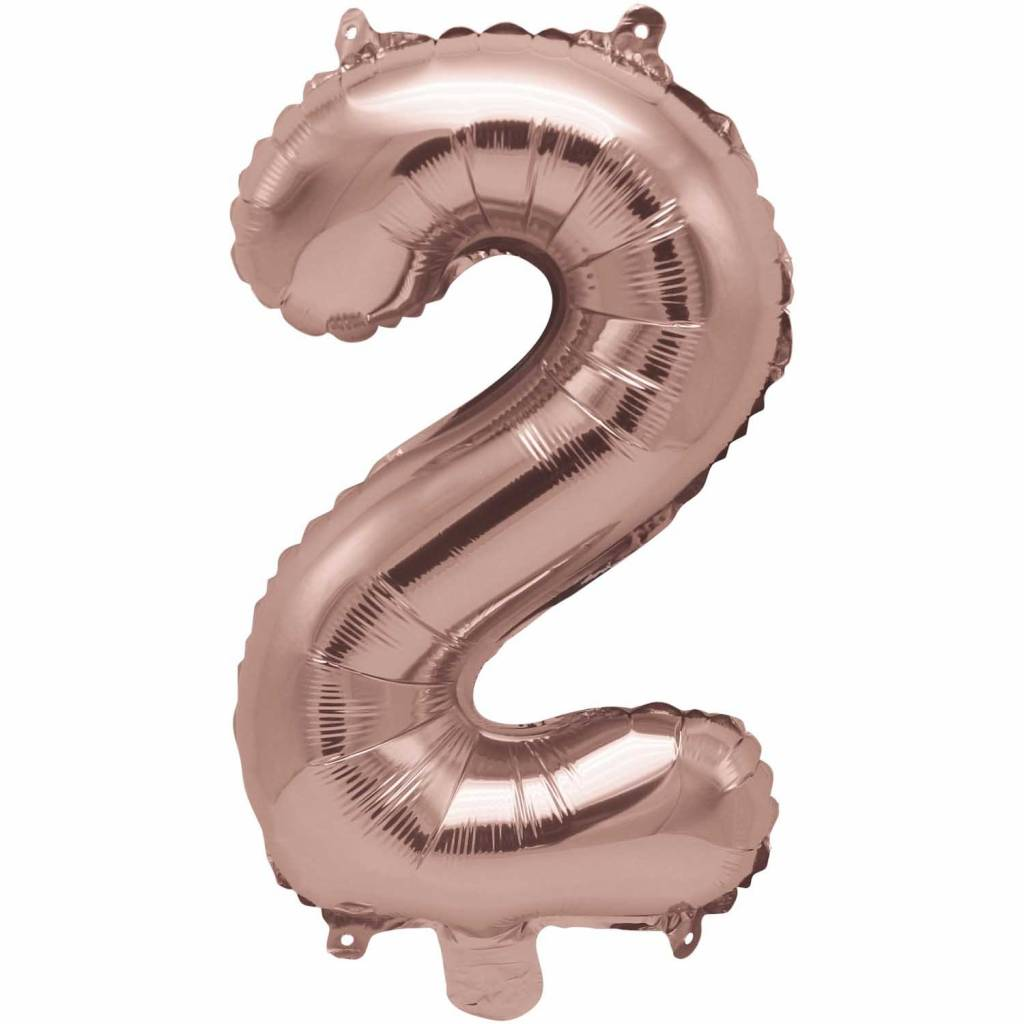 RICO Foil numberballoon small rose gold 2