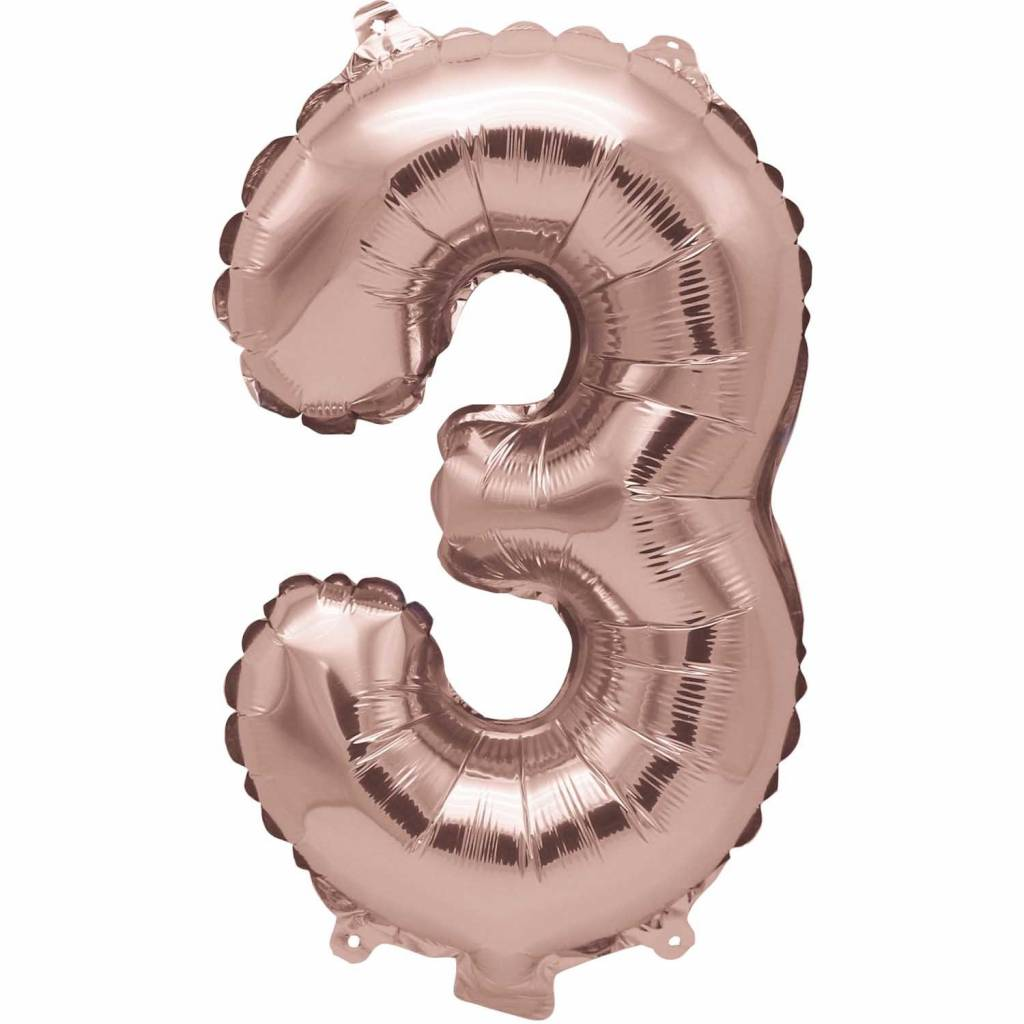 RICO Foil numberballoon small rose gold 3