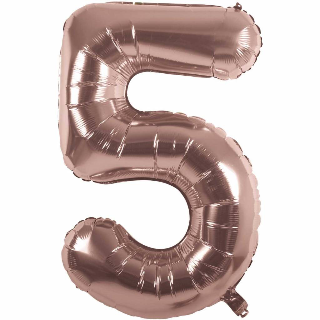 RICO Foil numberballoon small rose gold 5