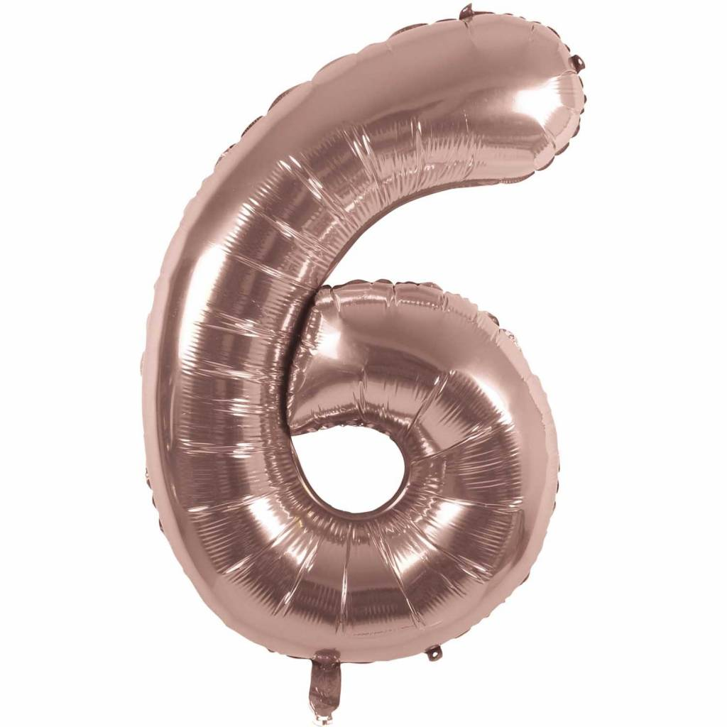 RICO Foil numberballoon small rose gold 6