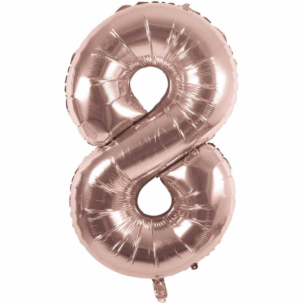RICO Foil numberballoon small rose gold 8