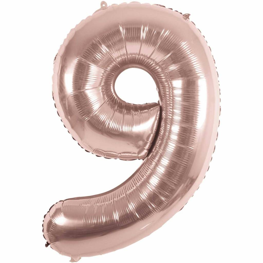RICO Foil numberballoon small rose gold 9
