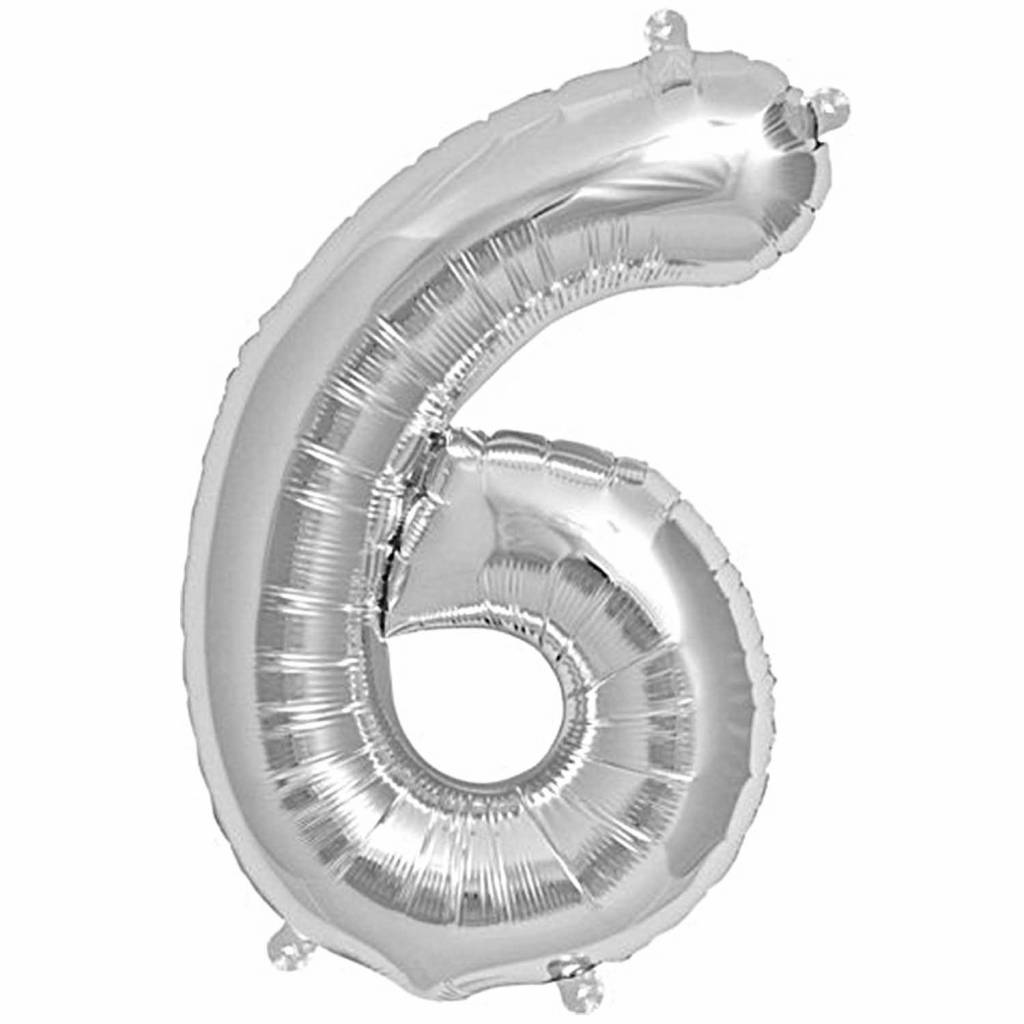 RICO Foil numberballoon large silver 6
