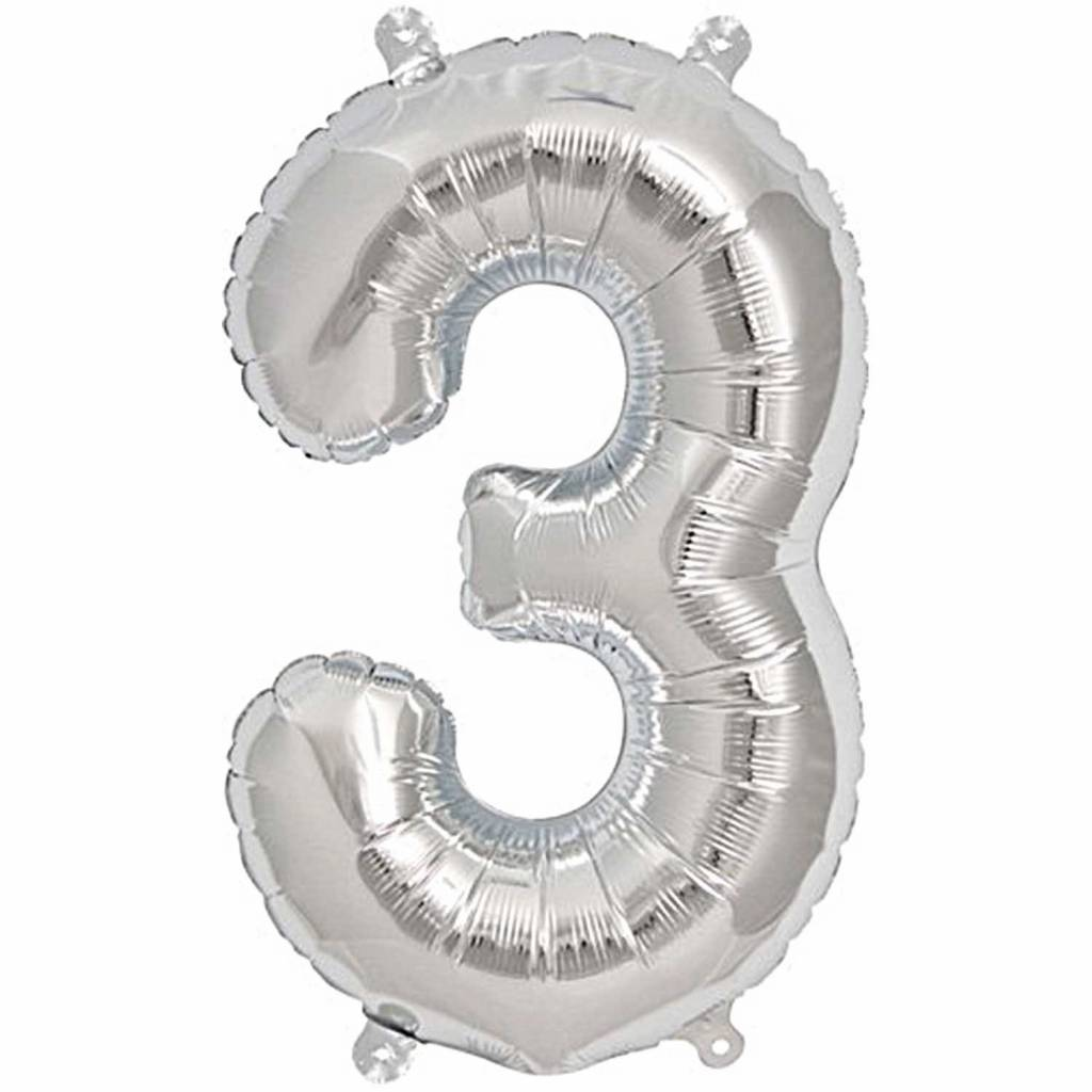 RICO Foil numberballoon large silver 3
