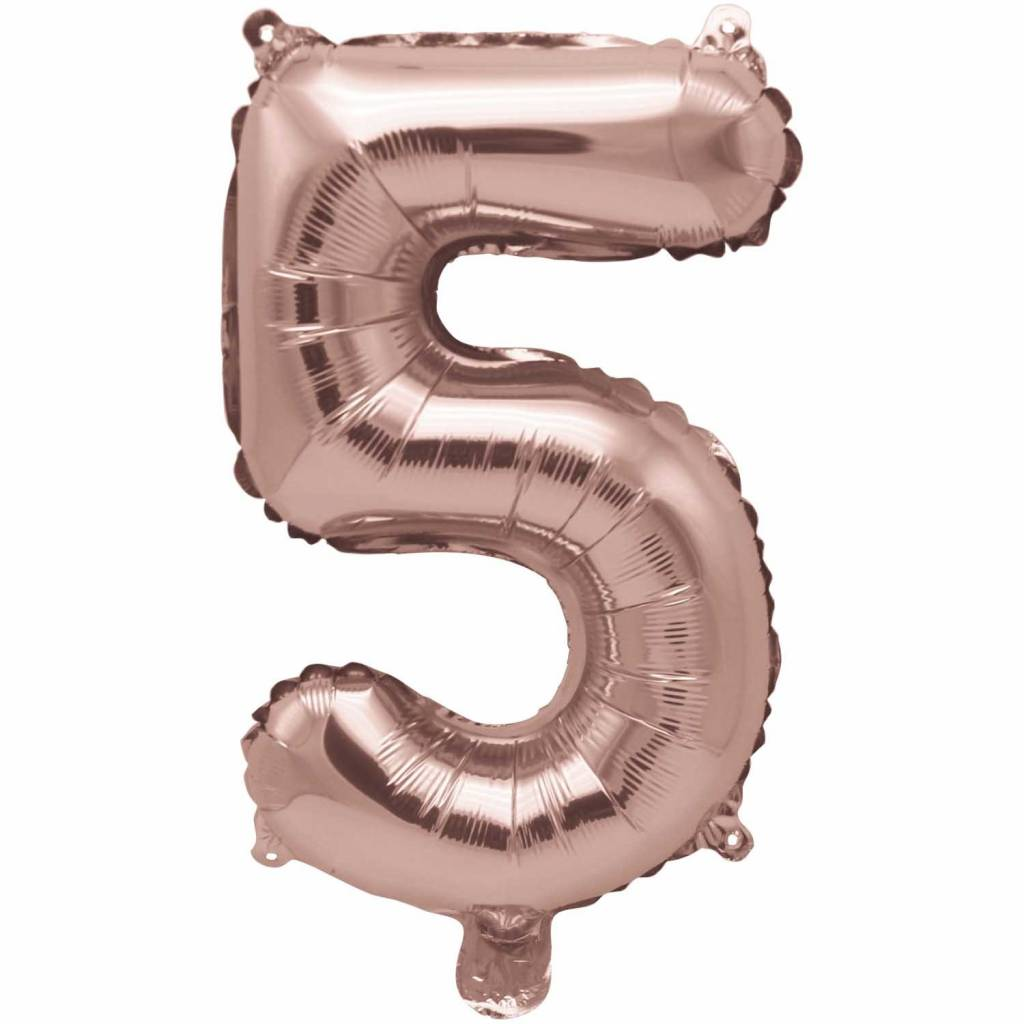 RICO Foil numberballoon large rose  gold 5