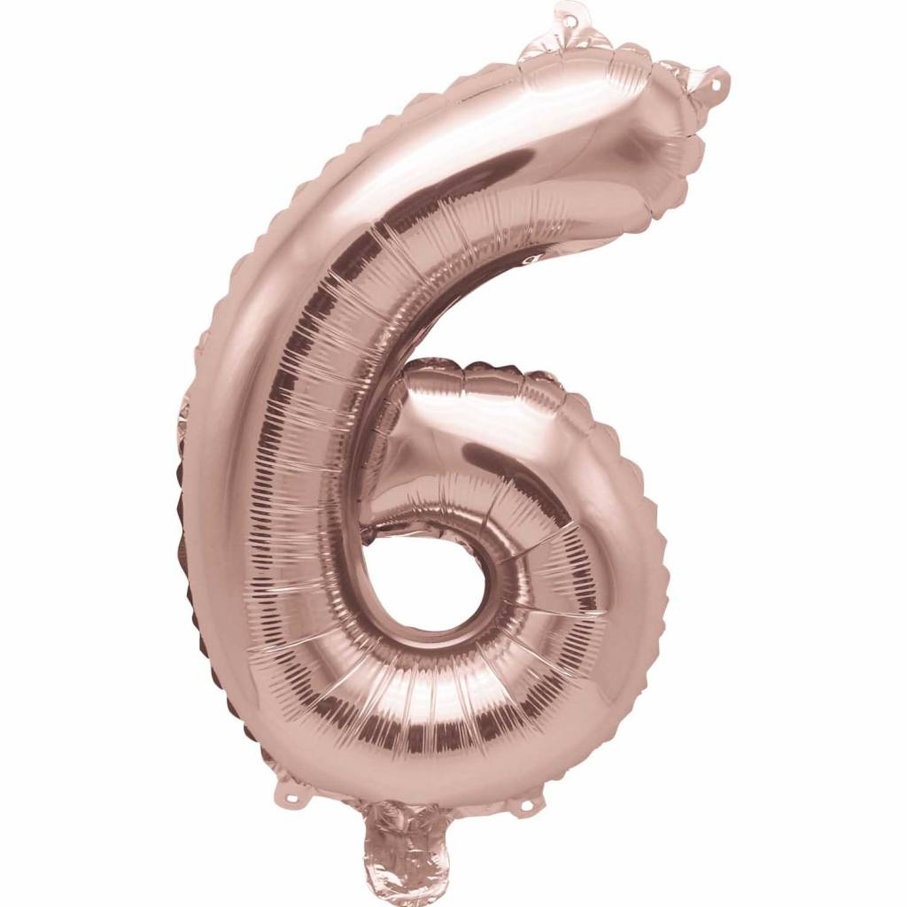 RICO Foil numberballoon large rose  gold 6
