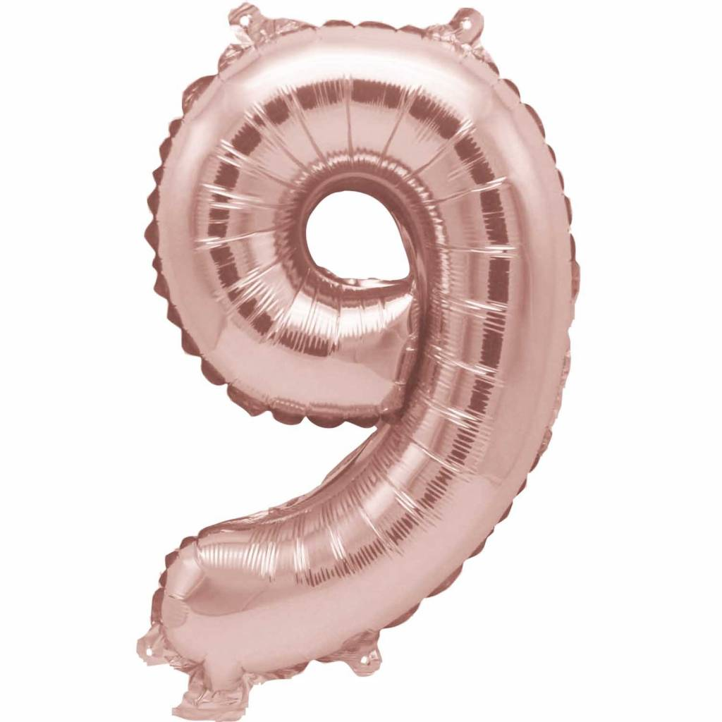 RICO Foil numberballoon large rose  gold 9