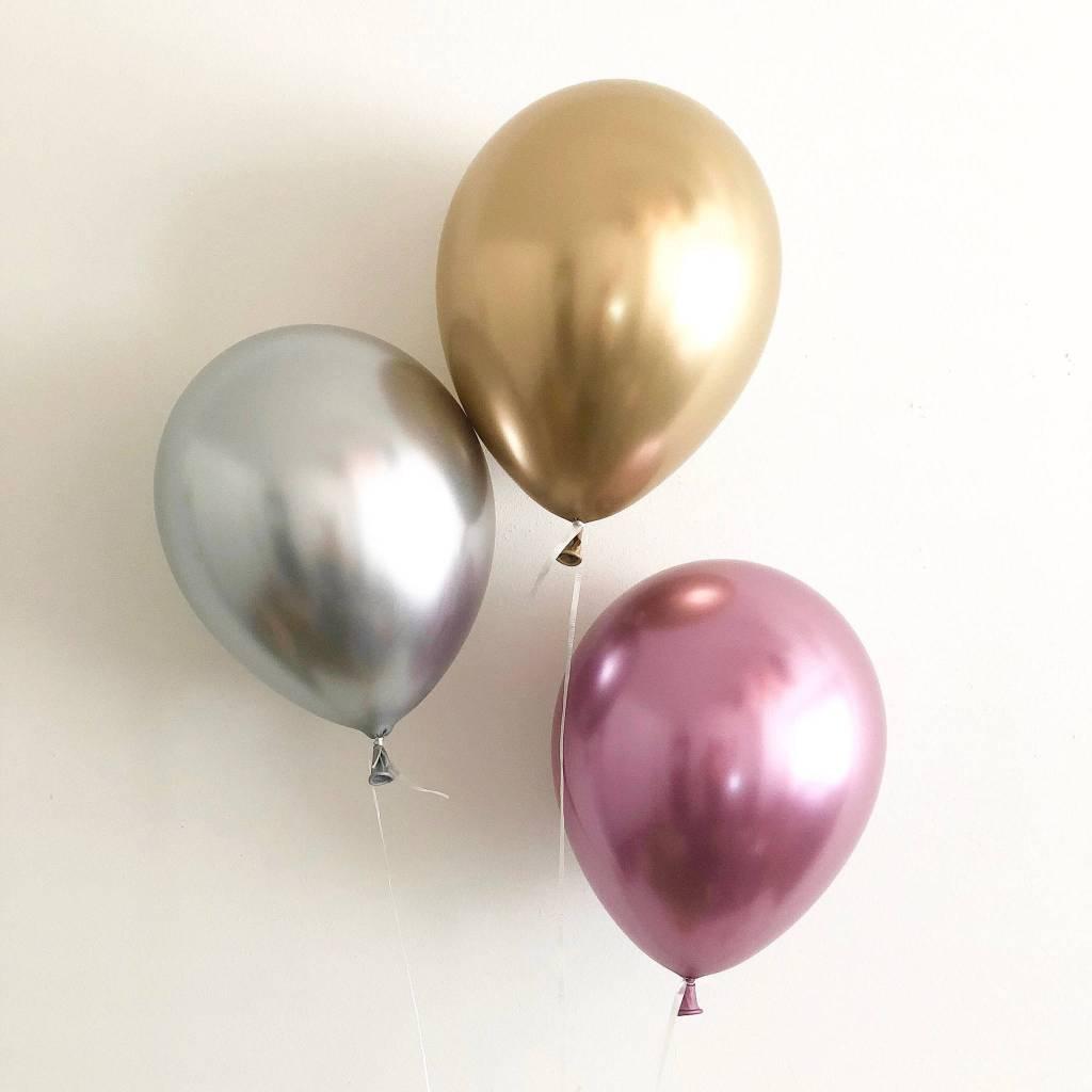 SBI Chrome shiny gold balloons 30cm 5x