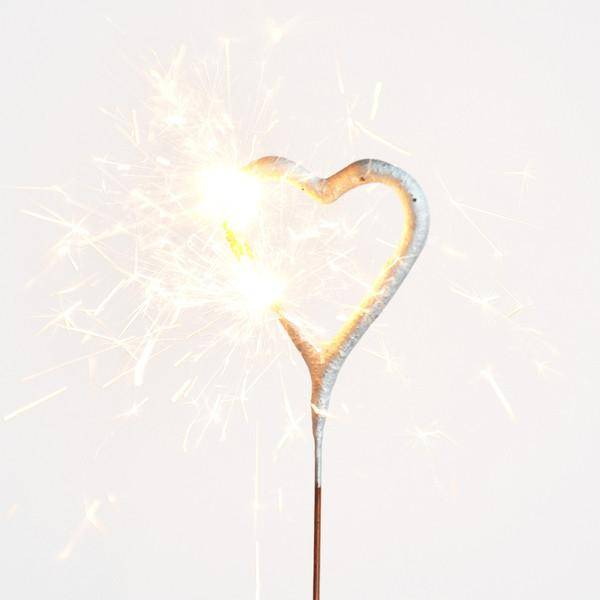 WC sparklers set mini hearts gold 4 x