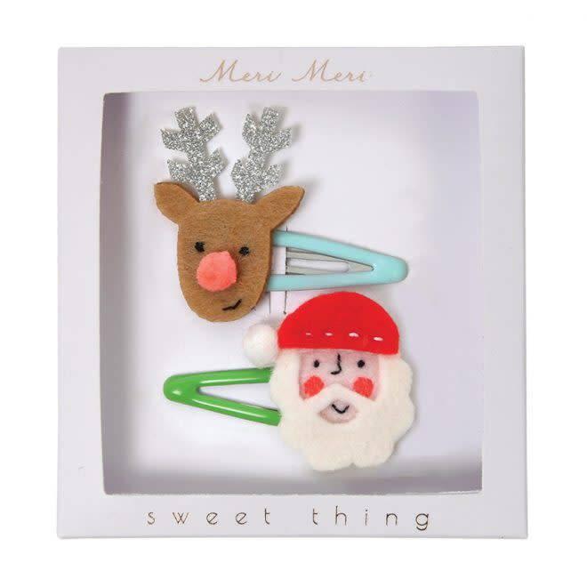 MERIMERI Santa & reindeer hair clips