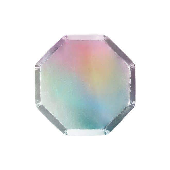 MERIMERI Holographic silver cocktail plates