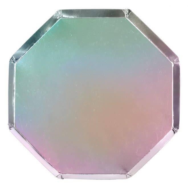 MERIMERI Holographic silver dinner plates
