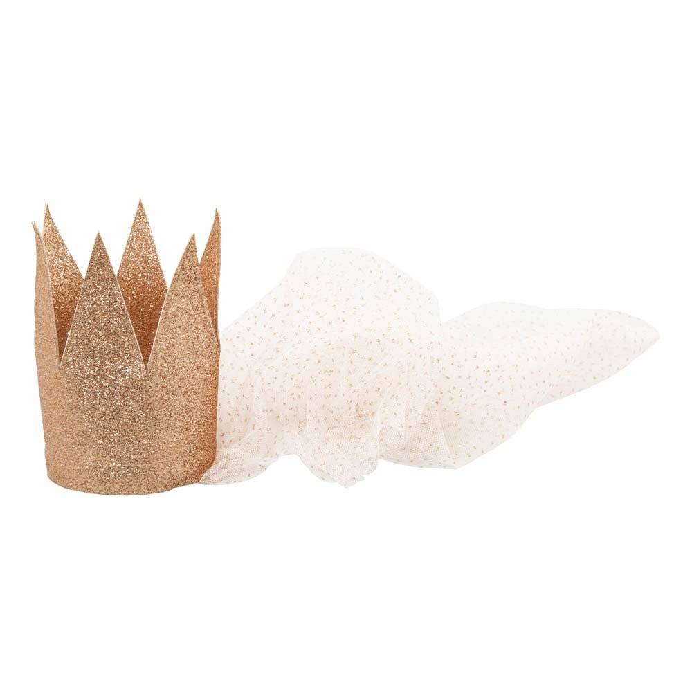 MOUCHE copper glitter crown with tulle veil