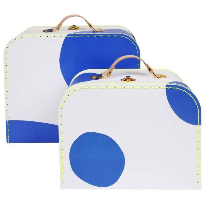 MERIMERI Blue spotty suitcase set