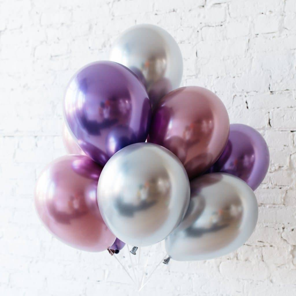 ABC Chrome shiny silver balloons 28cm 5x