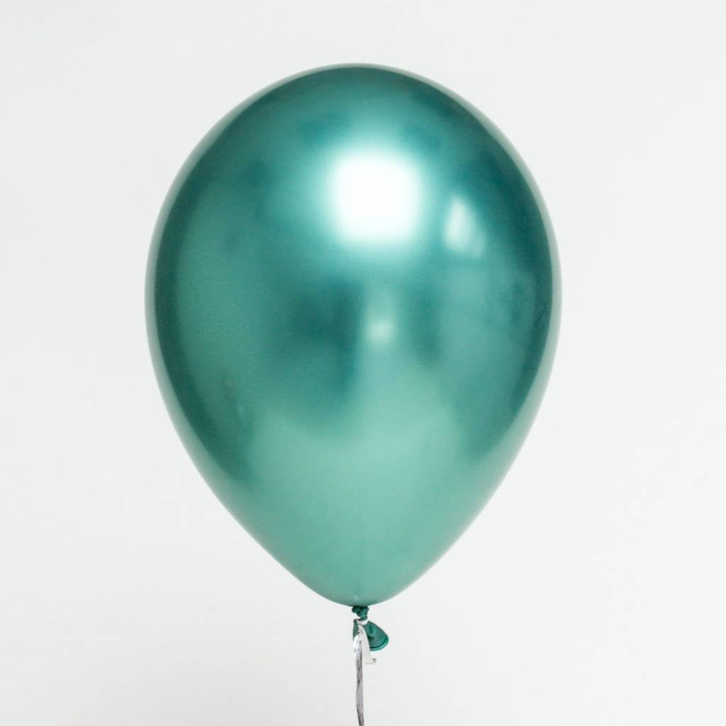 ABC Chrome shiny aqua balloons 28cm 5x