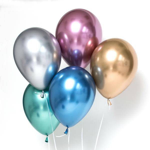 ABC Chrome shiny blue balloons 28cm 5x