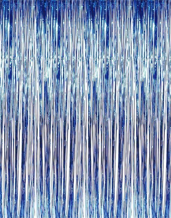 FT metallic blue fringe curtain 1x2m