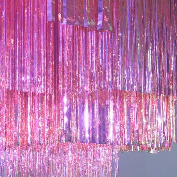 FT metallic bright pink fringe curtain 1x2m