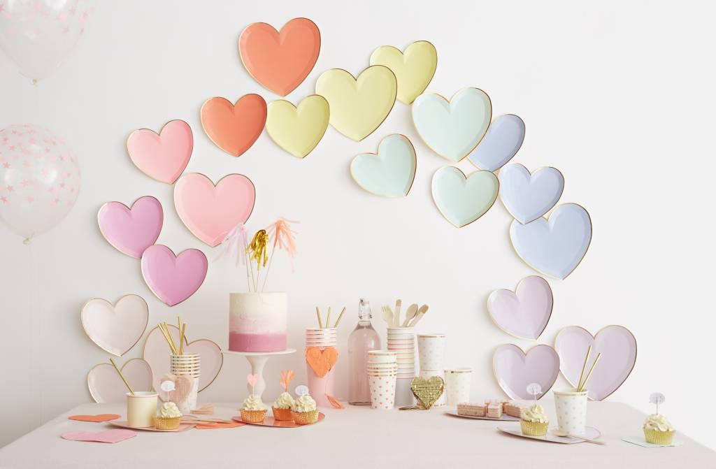 MERIMERI Pastel heart plates L