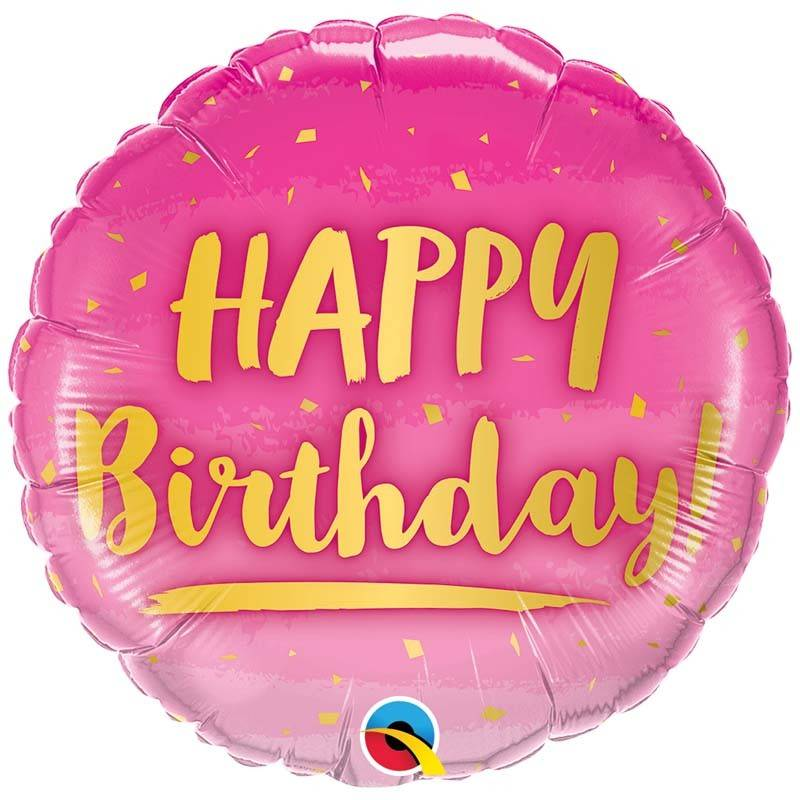 SMP birthday gold & pink foil balloon 45 cm