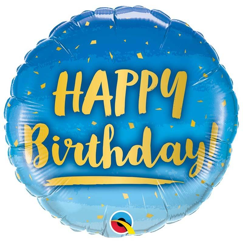 SMP birthday gold & blue foil balloon 45 cm