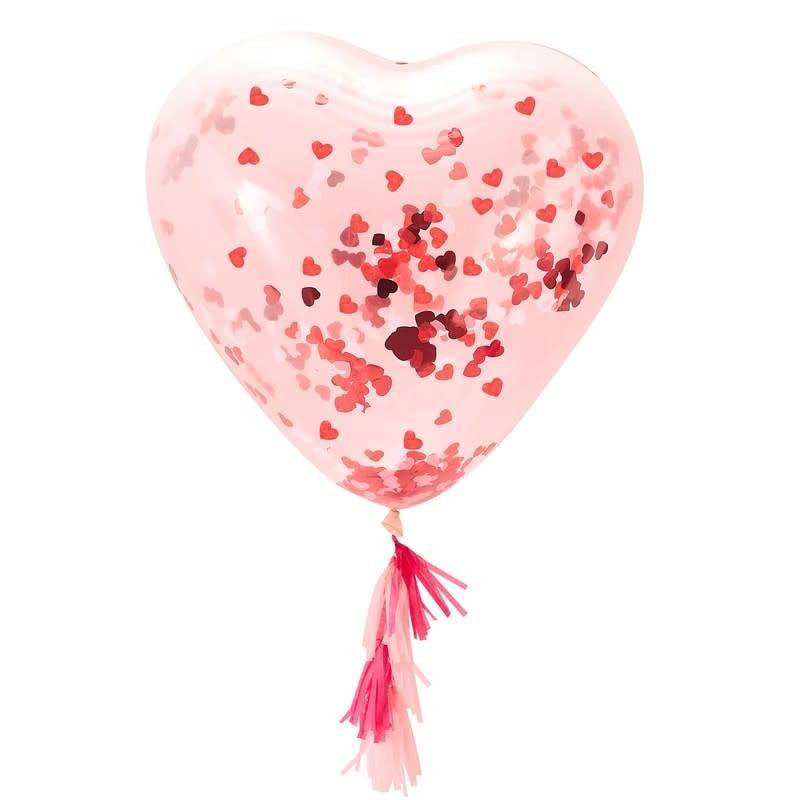 GINGERRAY GIANT HEART SHAPED CONFETTI FILLED BALLOON - BE MY VALENTINE