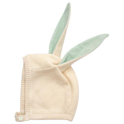 MERIMERI Bunny baby bonnet aqua