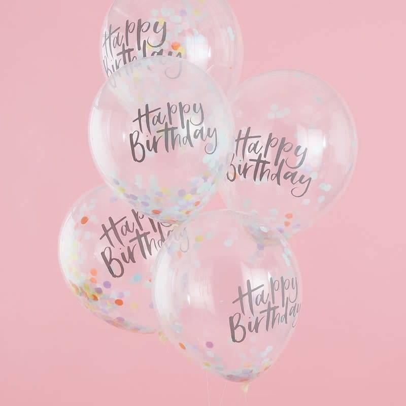 GINGERRAY Confetti Balloons - Happy Birthday - Pastel Party