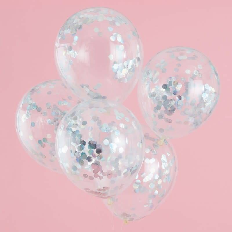 GINGERRAY Iridescent Confetti Balloons -Pastel Party