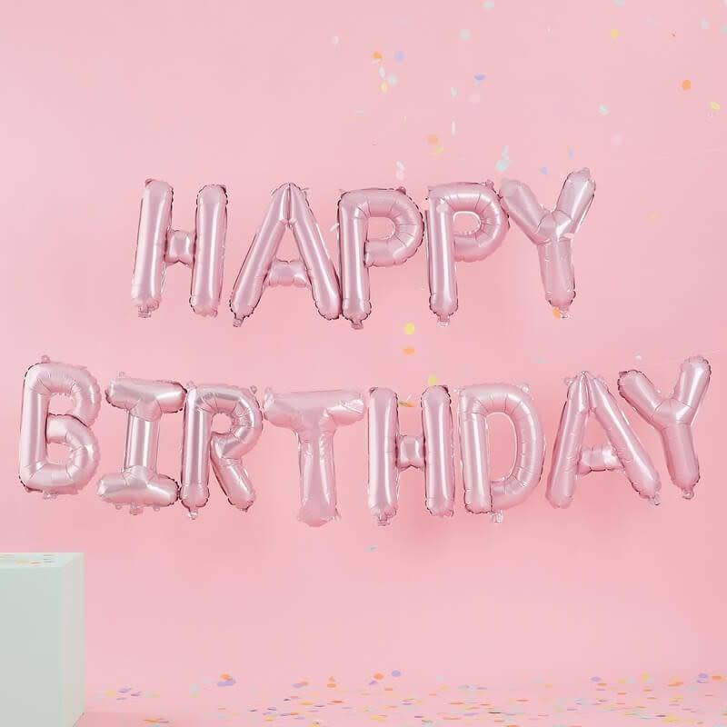 GINGERRAY Happy Birthday Matte Pink Balloon Bunting- Pastel Party