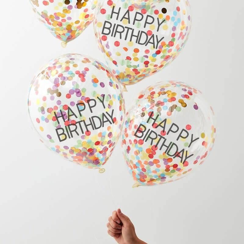 GINGERRAY Happy Birthday Confetti Rainbows Balloons- Over The Rainbow