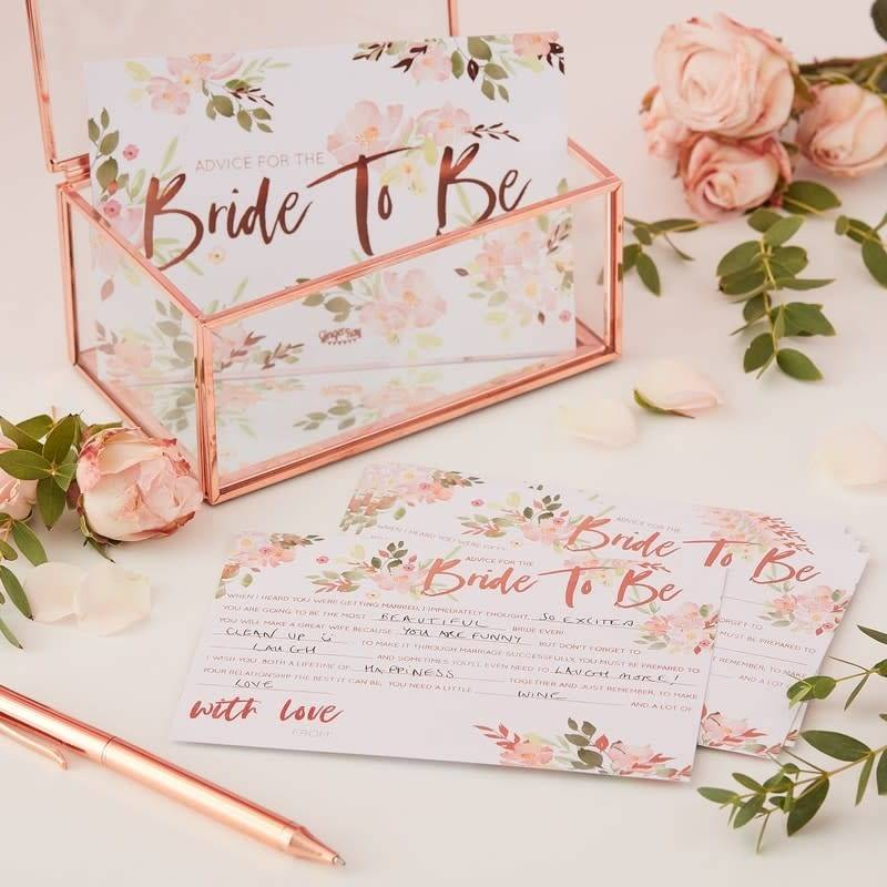 GINGERRAY Bride To Be Advice Cards- Floral Hen Party