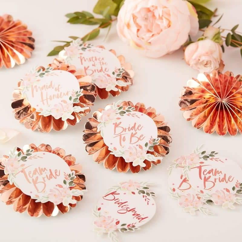 GINGERRAY Team Bride Floral Badges- Floral Hen Party