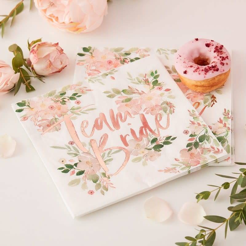 GINGERRAY Team Bride Floral Paper Napkins- Floral Hen Party