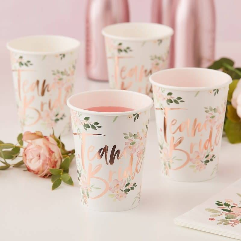 GINGERRAY Team Bride Floral Paper Cups - Floral Hen Party