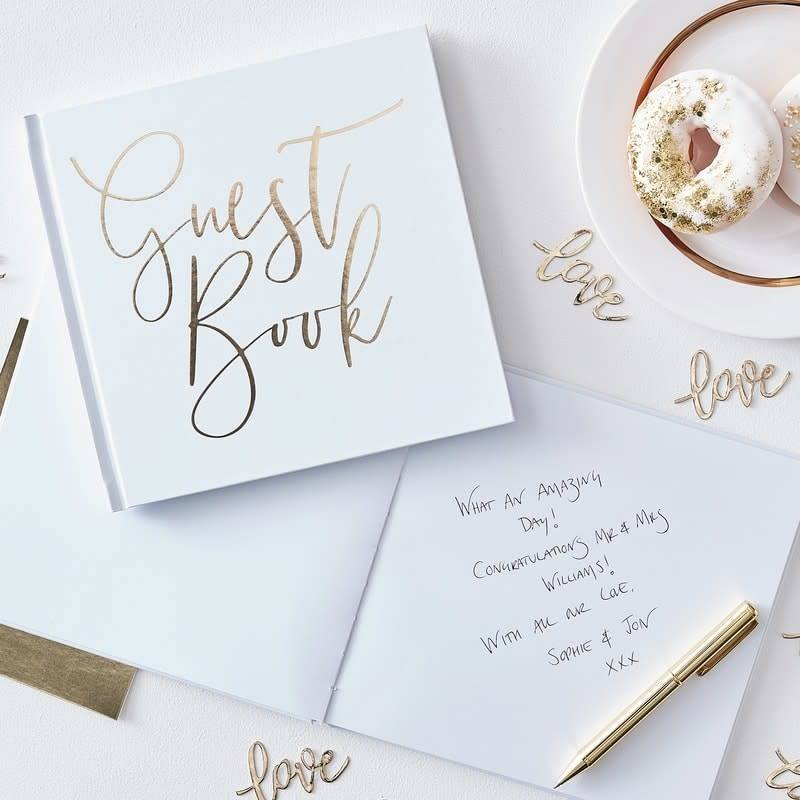 GINGERRAY Gold Foiled Wedding Guest Book- Gold Wedding