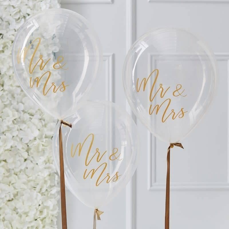 GINGERRAY Clear Mr Mrs Balloons- Gold Wedding