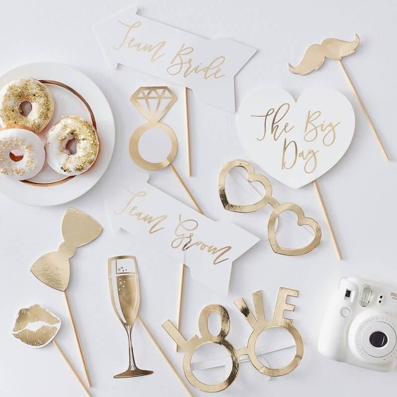 GINGERRAY Wedding Photo Boot Props- Gold Wedding