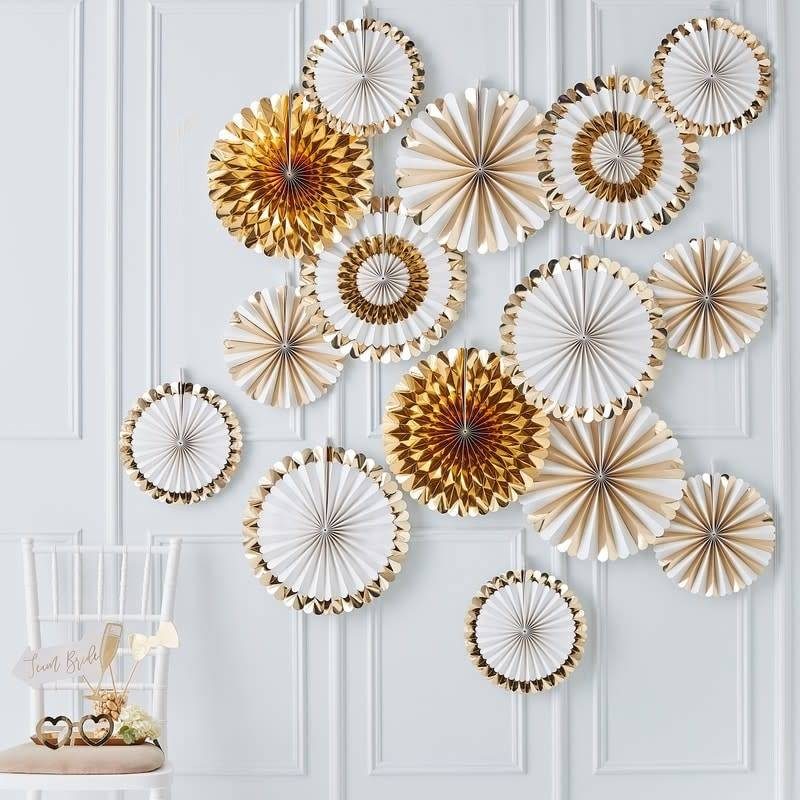 GINGERRAY Gold Fan Decoration Back Drop- Gold Wedding
