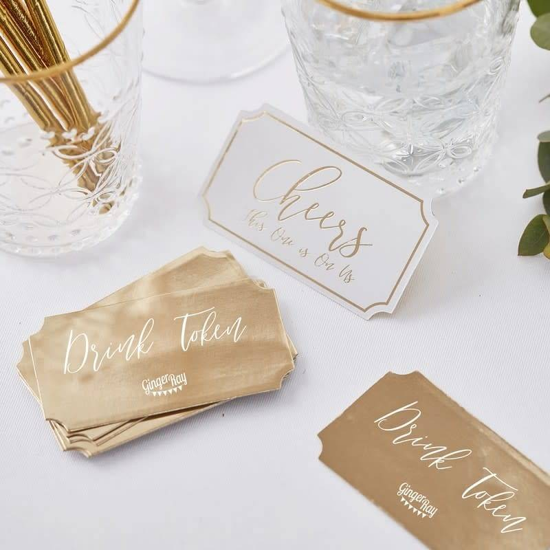 GINGERRAY Gold Wedding Drink Tokens- Gold Wedding