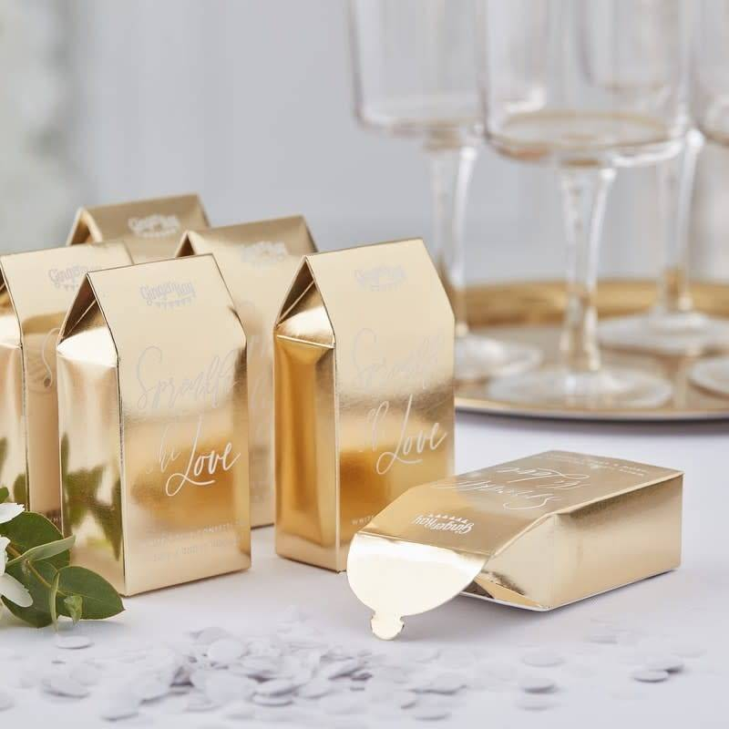 GINGERRAY Gold Biodegradable Wedding Confetti Boxes- Gold Wedding