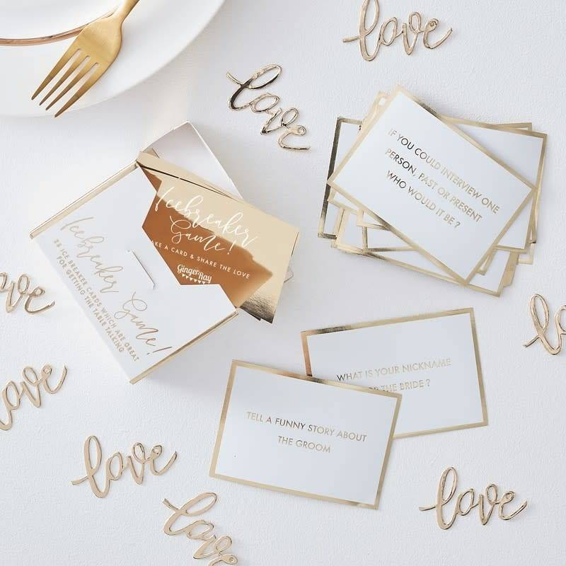 GINGERRAY Table Ice Breaker Game- Gold Wedding