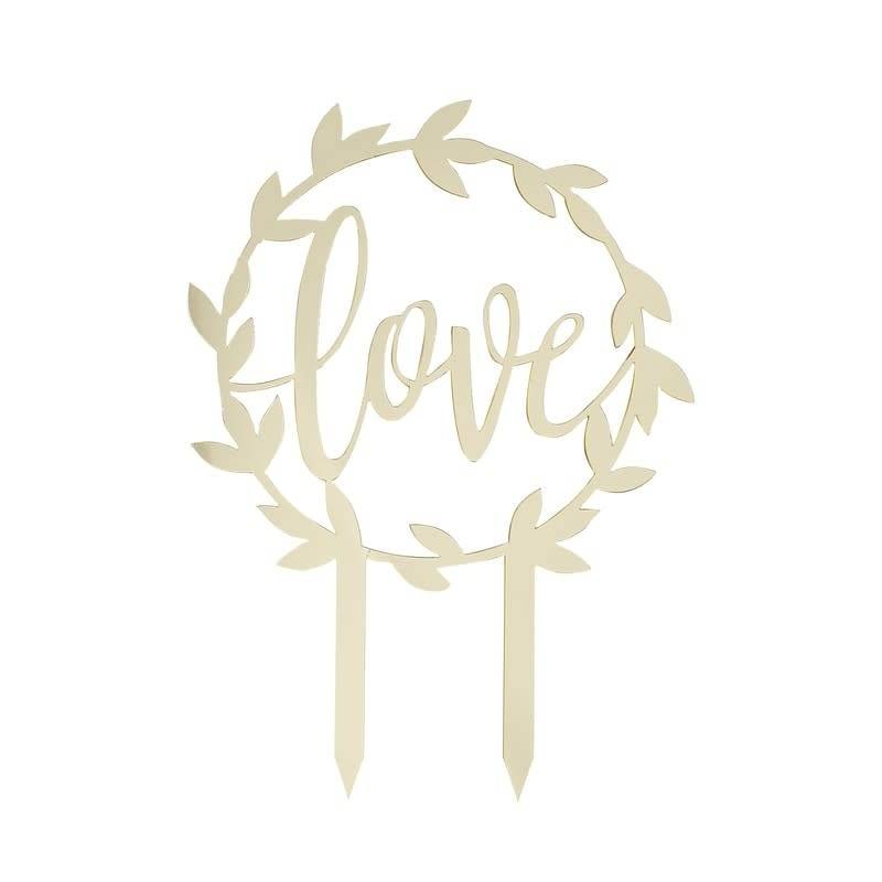 GINGERRAY Gold Acrylic Love Cake Topper- Gold Wedding