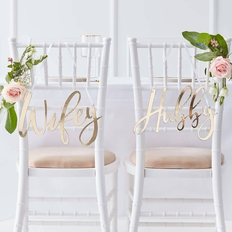 GINGERRAY Wifey and Hubby Gold Chair Signs- Gold Wedding