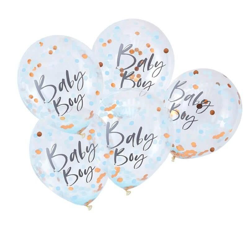 GINGERRAY Blue Baby Boy Confetti Balloons- Twinkle Twinkle