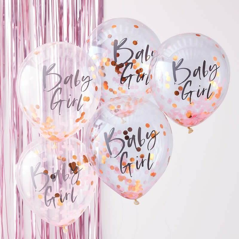 GINGERRAY Pink Baby Girl Confetti Balloons- Twinkle Twinkle